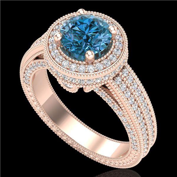 2.8 ctw Intense Blue Diamond Engagment Art Deco Ring 18k Rose Gold - REF-327Y3X