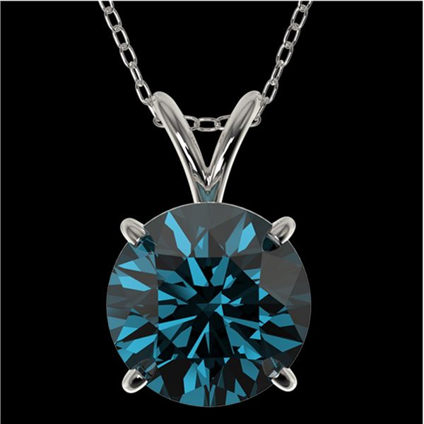 2 ctw Certified Intense Blue Diamond Solitaire Necklace 10k White Gold - REF-280W8H