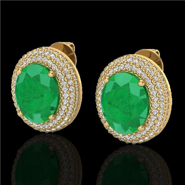9.20 ctw Emerald & Micro Pave VS/SI Diamond Earrings 18k Yellow Gold - REF-190H2R