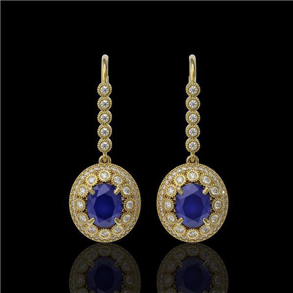 9.25 ctw Certified Sapphire & Diamond Victorian Earrings 14K Yellow Gold - REF-243W5H