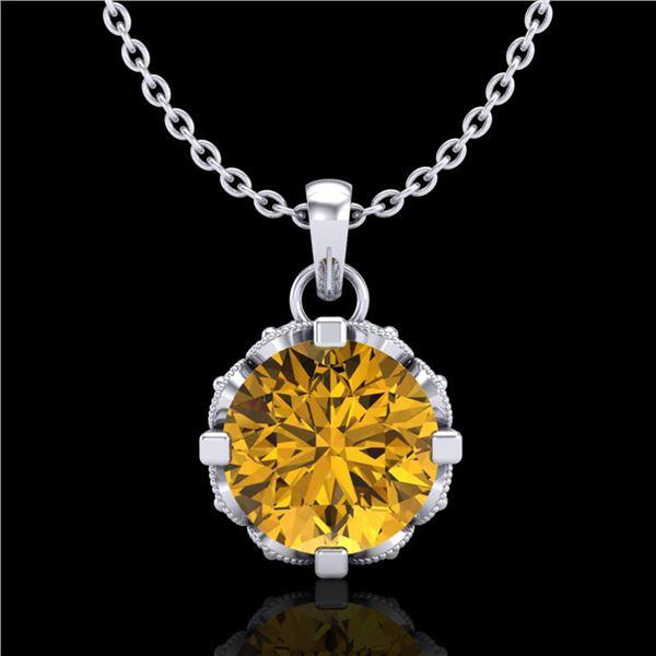 1.14 ctw Intense Fancy Yellow Diamond Art Deco Necklace 18k White Gold - REF-121Y8X
