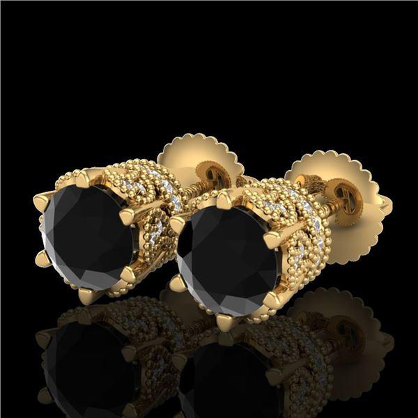 2.04 ctw Fancy Black Diamond Art Deco Stud Earrings 18k Yellow Gold - REF-89Y3X