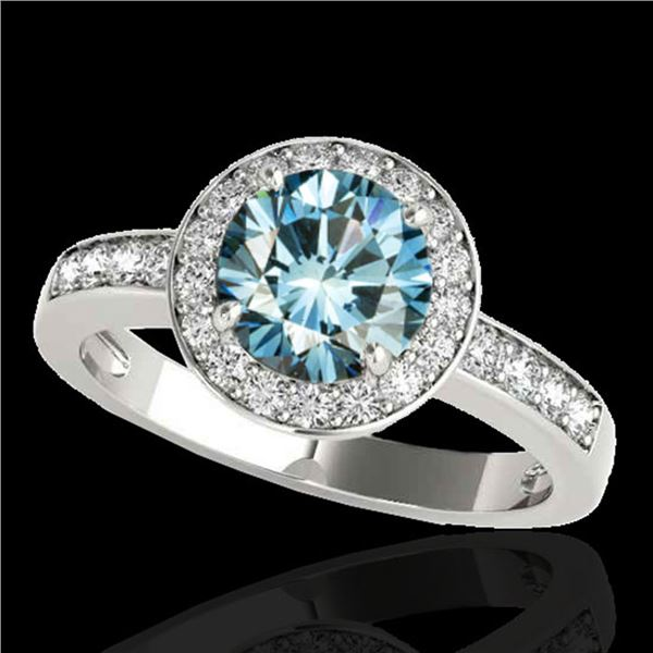 2 ctw SI Certified Blue Diamond Solitaire Halo Ring 10k White Gold - REF-225W2H
