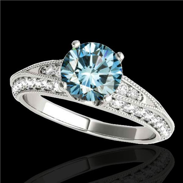 1.58 ctw SI Certified Blue Diamond Solitaire Antique Ring 10k White Gold - REF-129X5A