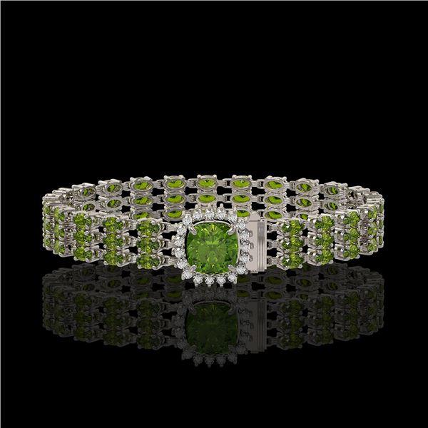 28.56 ctw Tourmaline & Diamond Bracelet 14K White Gold - REF-404M8G