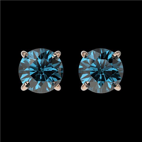 1.03 ctw Certified Intense Blue Diamond Stud Earrings 10k Rose Gold - REF-71G2W