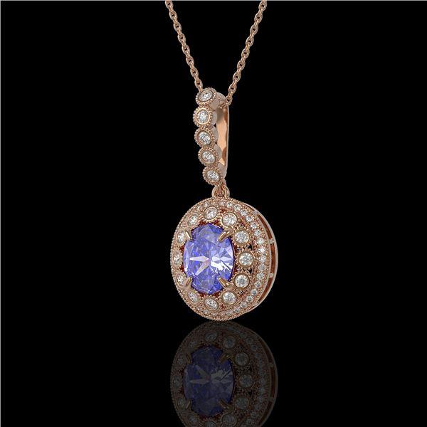 4.77 ctw Tanzanite & Diamond Victorian Necklace 14K Rose Gold - REF-169X8A
