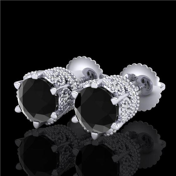 2.04 ctw Fancy Black Diamond Art Deco Stud Earrings 18k White Gold - REF-89W3H