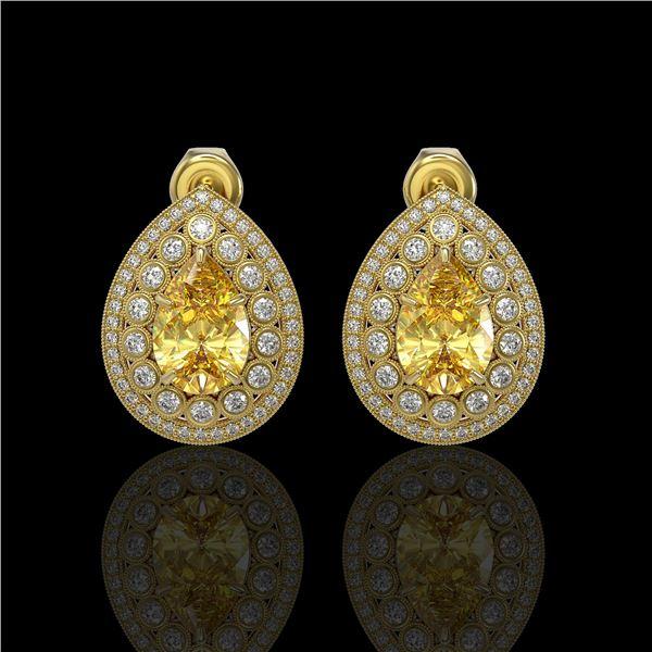 7.74 ctw Canary Citrine & Diamond Victorian Earrings 14K Yellow Gold - REF-180K2Y