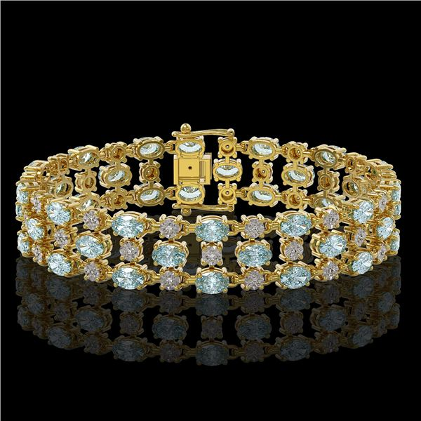 13.12 ctw Aquamarine & Diamond Row Bracelet 10K Yellow Gold - REF-245R5K