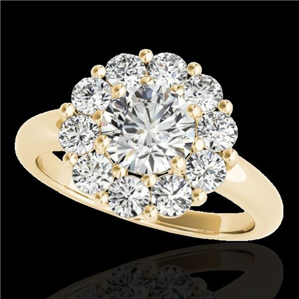 2.09 ctw Certified Diamond Solitaire Halo Ring 10k Yellow Gold - REF-225A2N