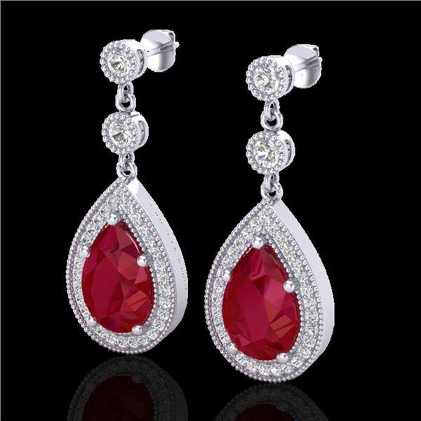 6 ctw Ruby & Micro Pave VS/SI Diamond Earrings Designer 18k White Gold - REF-100W2H
