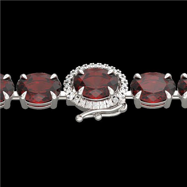 19.25 ctw Garnet & Diamond Eternity Micro Bracelet 14k White Gold - REF-107R3K
