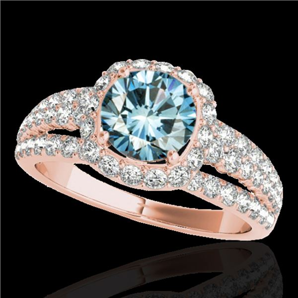 2 ctw SI Certified Blue Diamond Solitaire Halo Ring 10k Rose Gold - REF-135Y2X