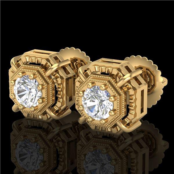 1.11 ctw VS/SI Diamond Solitaire Art Deco Stud Earrings 18k Yellow Gold - REF-254Y5X