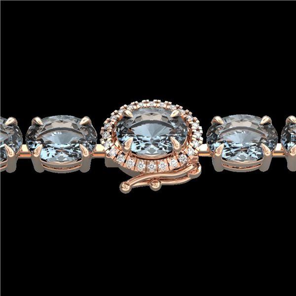 26 ctw Aquamarine & VS/SI Diamond Eternity Micro Bracelet 14k Rose Gold - REF-285W3H