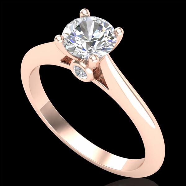 0.83 ctw VS/SI Diamond Solitaire Art Deco Ring 18k Rose Gold - REF-116X6A