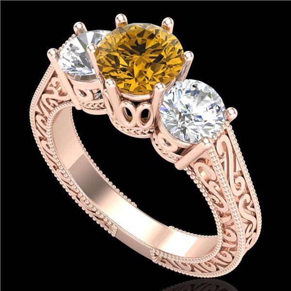 2.01 ctw Intense Fancy Yellow Diamond Art Deco Ring 18k Rose Gold - REF-343R6K
