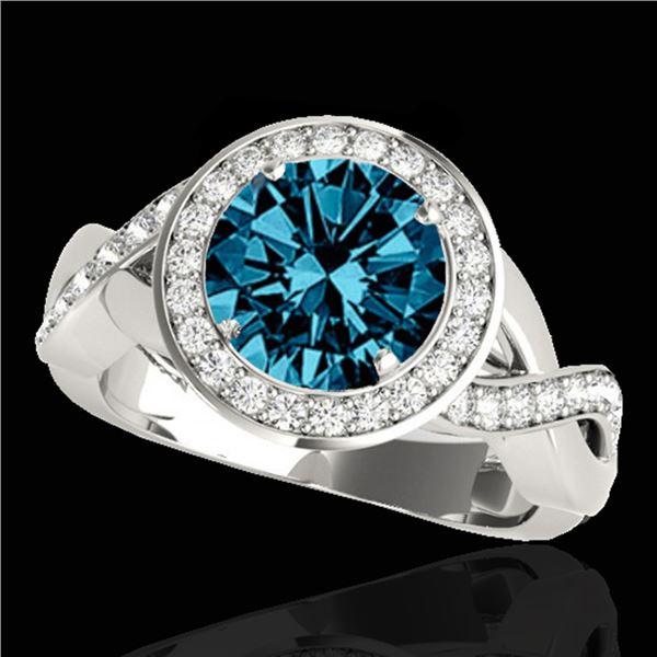 1.75 ctw SI Certified Fancy Blue Diamond Halo Ring 10k White Gold - REF-156N8F