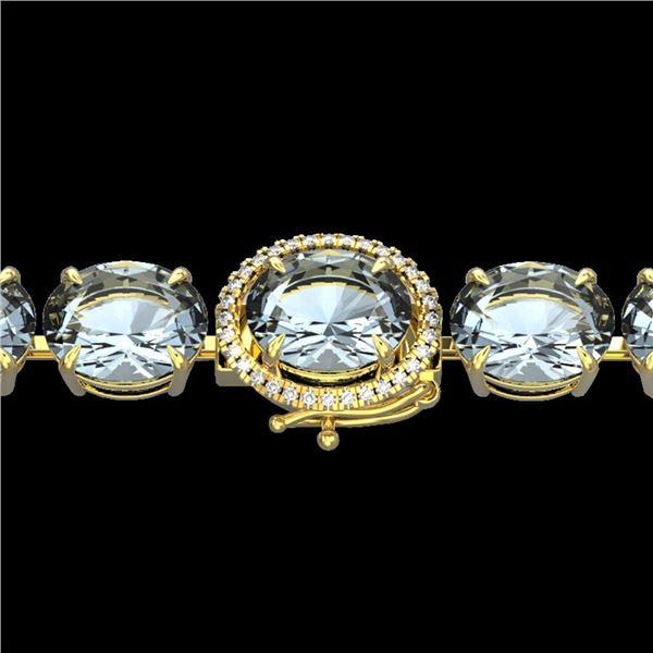 79 ctw Sky Blue Topaz & Micro Diamond Bracelet 14k Yellow Gold - REF-229W3H