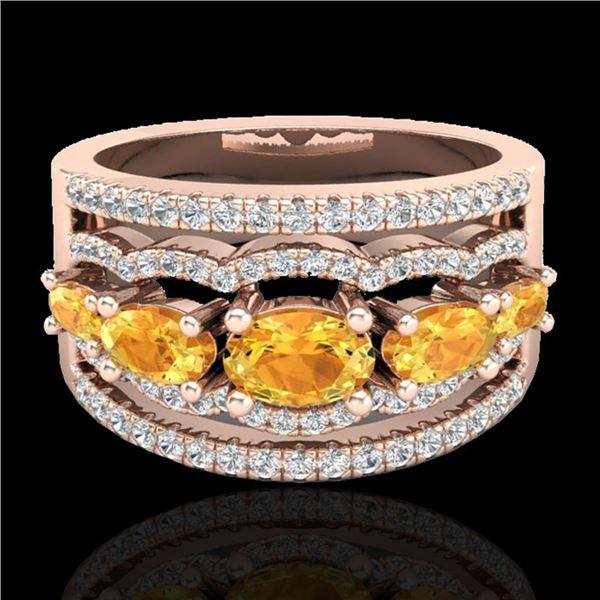 2.25 ctw Citrine & Micro Pave VS/SI Diamond Designer Ring 10k Rose Gold - REF-81K8Y