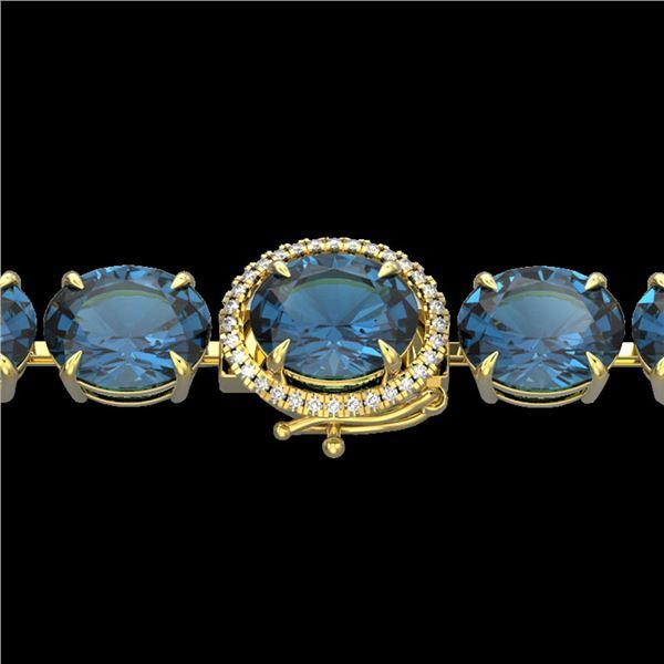 79 ctw London Blue Topaz & Micro Diamond Bracelet 14k Yellow Gold - REF-272A2N
