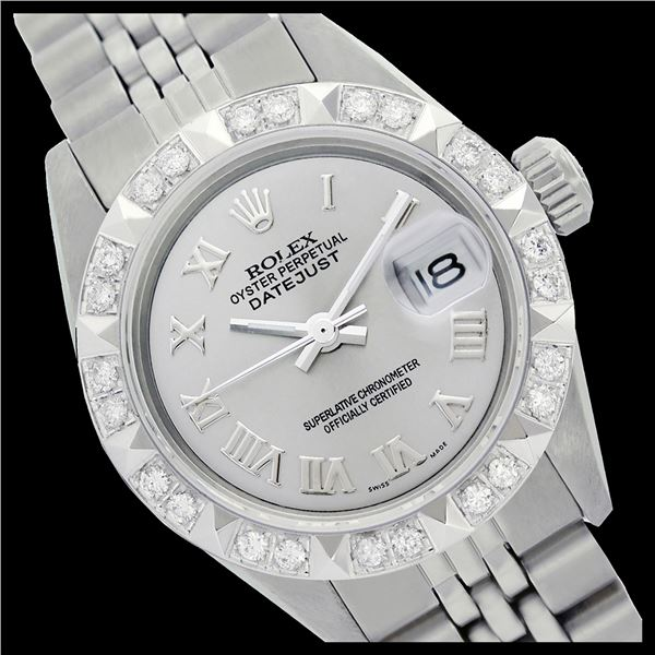 Rolex Ladies Stainless Steel, Roman Dial with Pyrimid Diam Bezel, Sapphire Crystal