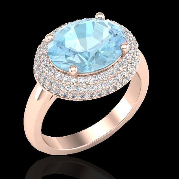 4 ctw Aquamarine & Micro Pave VS/SI Diamond Ring 14k Rose Gold - REF-116K5Y