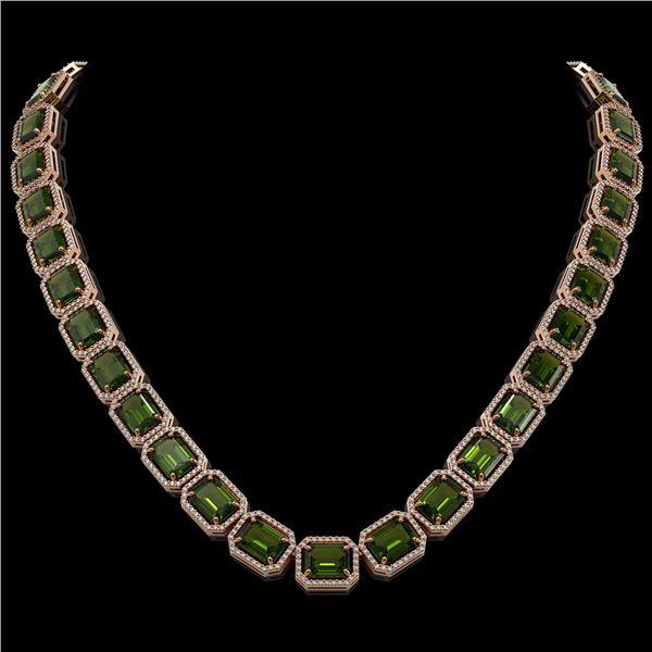 80.65 ctw Tourmaline & Diamond Micro Pave Halo Necklace 10k Rose Gold - REF-1163W6H