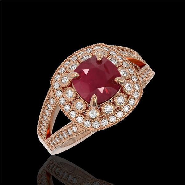 2.69 ctw Certified Ruby & Diamond Victorian Ring 14K Rose Gold - REF-103H3R