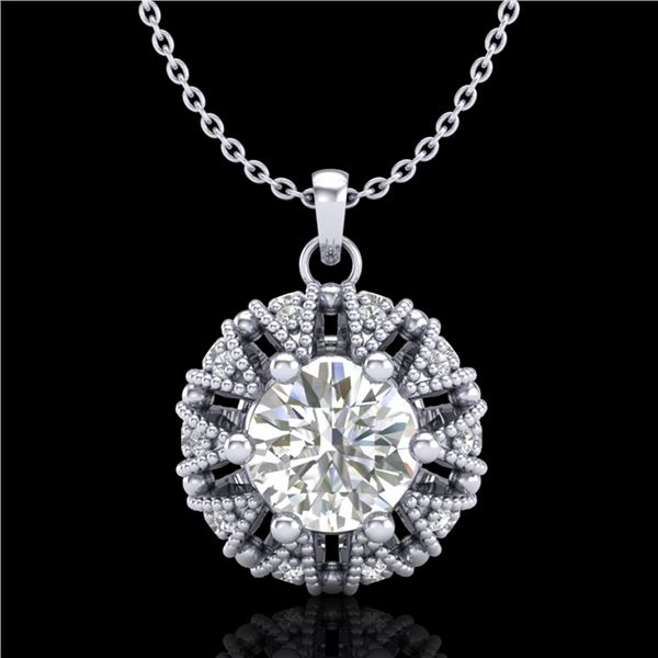1.2 ctw VS/SI Diamond Art Deco Micro Pave Stud Necklace 18k White Gold - REF-220N2F