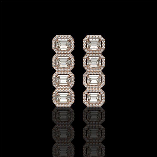 5.33 ctw Emerald Cut Diamond Micro Pave Earrings 18K Rose Gold - REF-844F2M