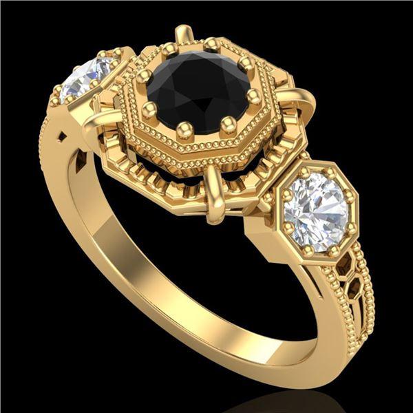 1.01 ctw Fancy Black Diamond Art Deco 3 Stone Ring 18k Yellow Gold - REF-96Y4X