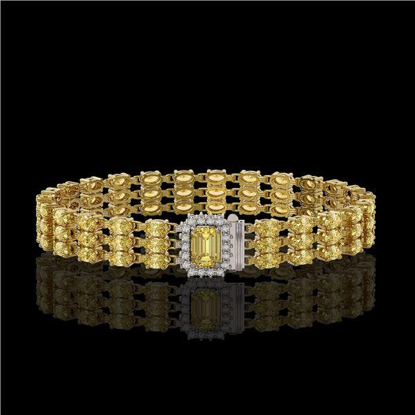 20.93 ctw Citrine & Diamond Bracelet 14K Yellow Gold - REF-318G2W