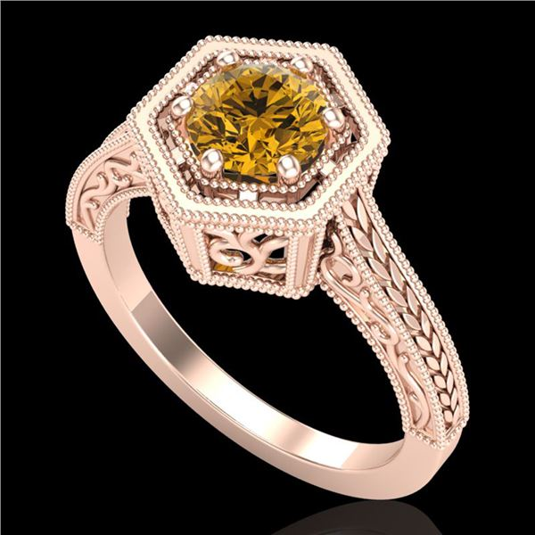 0.77 ctw Intense Fancy Yellow Diamond Art Deco Ring 18k Rose Gold - REF-145H5R