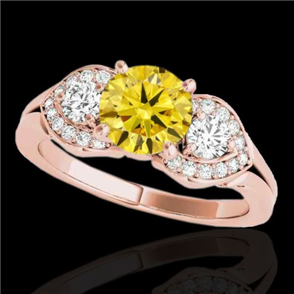 1.45 ctw SI/I Fancy Intense Yellow Diamond 3 Stone Ring 10k Rose Gold - REF-204A5N