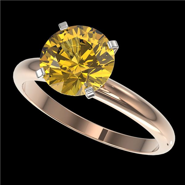 2.50 ctw Certified Intense Yellow Diamond Solitaire Ring 10k Rose Gold - REF-564H5R