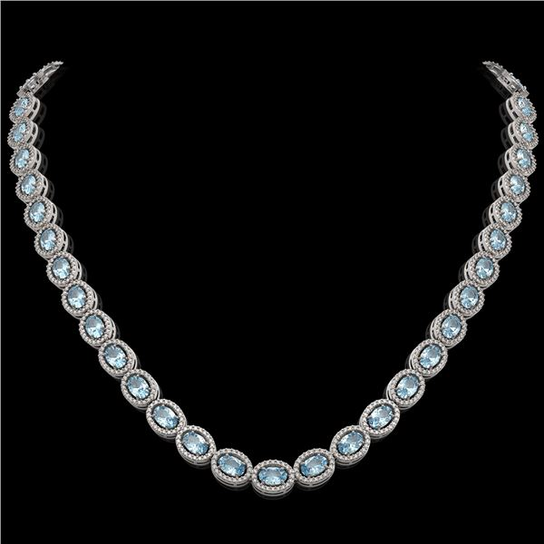 33.25 ctw Sky Topaz & Diamond Micro Pave Halo Necklace 10k White Gold - REF-600W2H