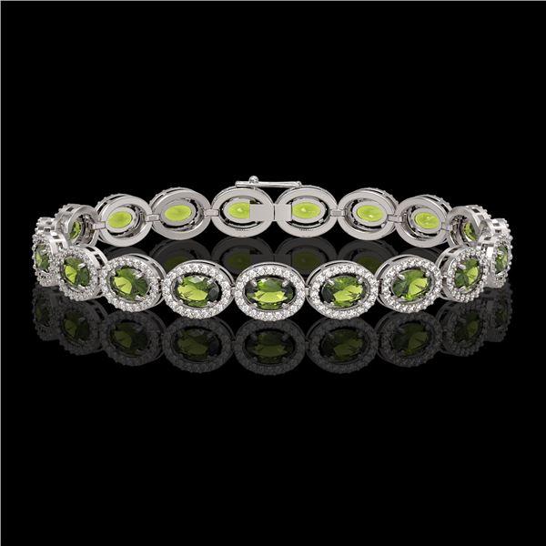 13.87 ctw Tourmaline & Diamond Micro Pave Halo Bracelet 10k White Gold - REF-309M3G