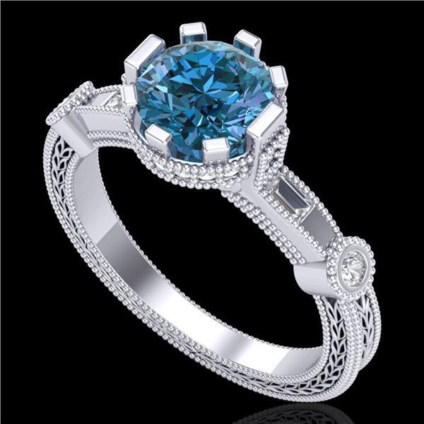 1.71 ctw Fancy Intense Blue Diamond Art Deco Ring 18k White Gold - REF-263N6F