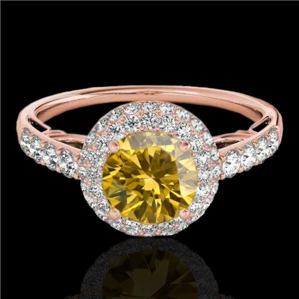 1.65 ctw Certified SI/I Fancy Intense Yellow Diamond Ring 10k Rose Gold - REF-218R2K