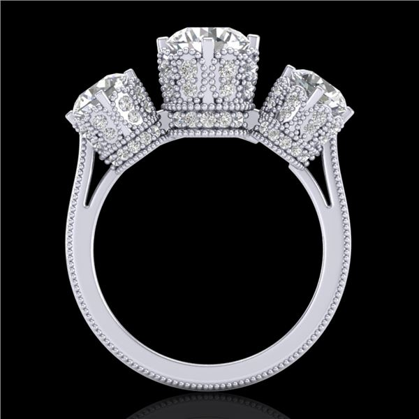 3.06 ctw VS/SI Diamond Solitaire Art Deco 3 Stone Ring 18k White Gold - REF-576R4K