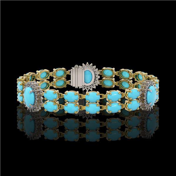 14.58 ctw Turquoise & Diamond Bracelet 14K Yellow Gold - REF-254W5H