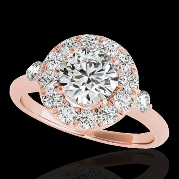 1.5 ctw Certified Diamond Solitaire Halo Ring 10k Rose Gold - REF-177W3H