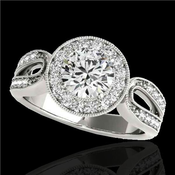 1.4 ctw Certified Diamond Solitaire Halo Ring 10k White Gold - REF-204Y5X