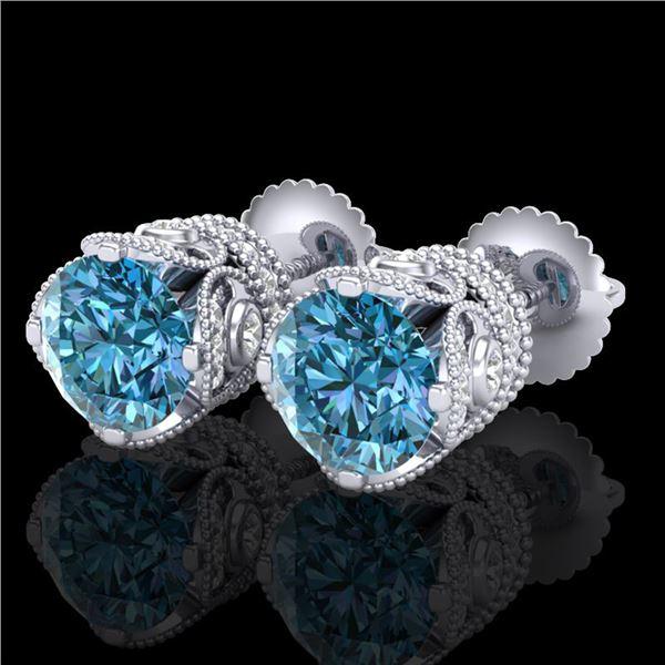 3 ctw Fancy Intense Blue Diamond Art Deco Earrings 18k White Gold - REF-572W8H