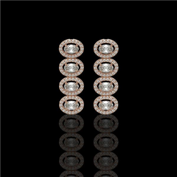 3.84 ctw Oval Cut Diamond Micro Pave Earrings 18K Rose Gold - REF-334A6N