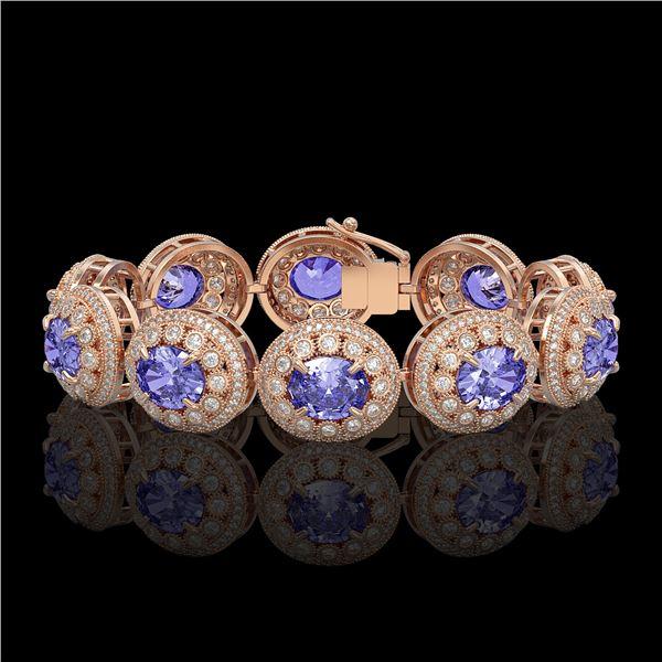 50.27 ctw Tanzanite & Diamond Victorian Bracelet 14K Rose Gold - REF-1704W4H