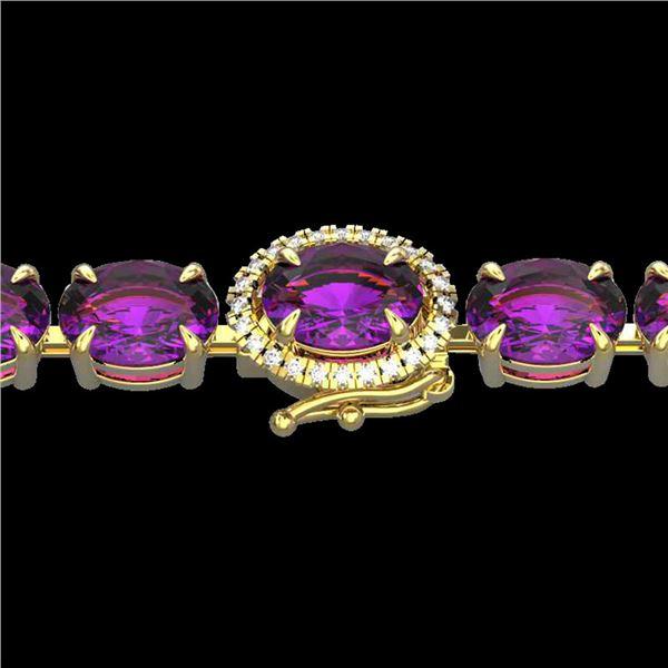 19.25 ctw Amethyst & VS/SI Diamond Micro Pave Bracelet 14k Yellow Gold - REF-116X4A