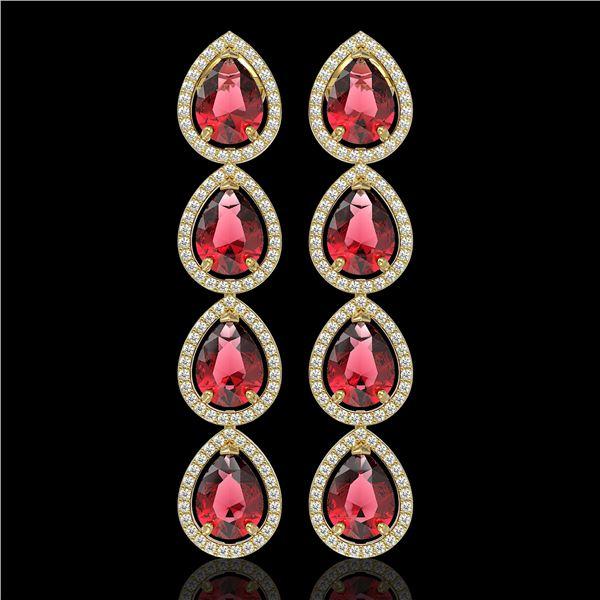 10.48 ctw Tourmaline & Diamond Micro Pave Halo Earrings 10k Yellow Gold - REF-281K8Y